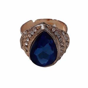 Vintage Ring Blue & Rhinestone Teardrop Adjustable